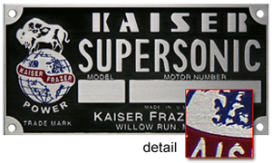 kaiser supersonic model motor number plate aluminum