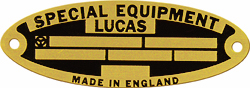 lucas special equipment data id plate tag brass