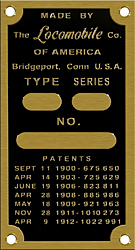 Locomobile data patent type series plate brass
