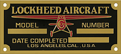 Lockheed model plane number plate brass