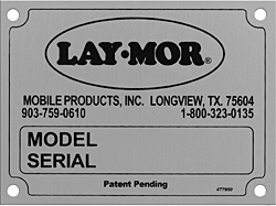 lay  laymor model serial number plate aluminum