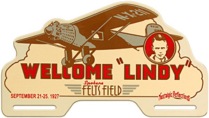 Charles Lindbergh license plate topper Spokane 1927 felts field