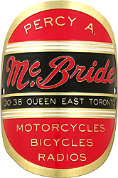 Percy A. McBride bike head badge toronto brass
