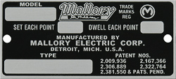 mallory electric model type number plate