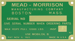 mead morrison serial number tag plate brass