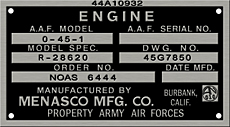 menasco army air forces drone data plate 0-45-1