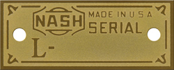 nash serial number tgas plates brass