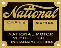 national motor car number series plate tag brass