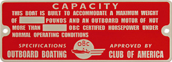 outboard boating club america  capacity plate aluminum