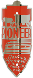 schwinn pioneer bike head tube badge nickel red