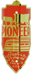 schwinn pioneer bike head tube badge brass red