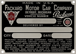 packard vehicle car number delivery plate aluminum