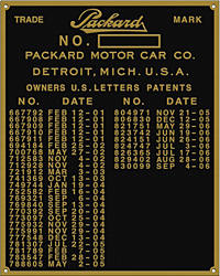 packard car number plate patent 1901 1906 brass