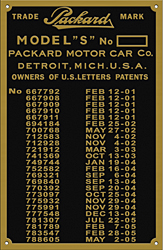 packard model s car number plate patent 1901 1905 brass