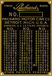 packard car number plate patent 1901 1905 brass