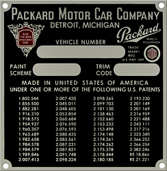 packard vehicle car number paint trim delivery plate patent aluminum
