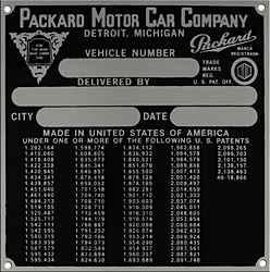 packard vehicle car number delivery plate patent aluminum