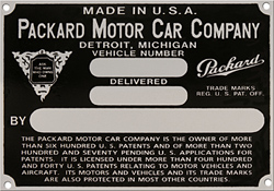packard motor vehicle car number plate aluminum