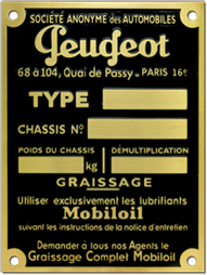 peugeot chassis oil data plate brass