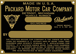 packard motor vehicle car number plate brass
