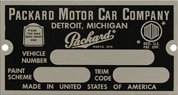 packard vehicle number trim paint data plate aluminum