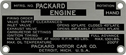 packard engine carburetor timing data plate aluminum