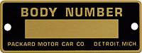 Packard body number plate tag brass etched