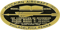 pitcairn aircraft model serial number plate brass