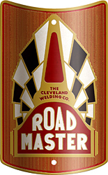 cleveland welding road master bike head badge brass