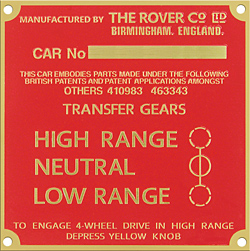rovercar number 4wd range plate brass company