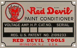 red devil paint conditioner skaker id data plate tag aluminum