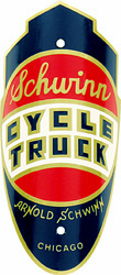 schwinn cycle truck tube head bike badge brass