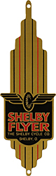 shelby cycle flyer bike bicycle badge head tube brass