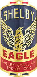 shelby cycle eagle bike head badge brass