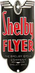 shelby cycle flyer aluminum bike head badge