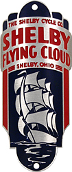 shelby cycle co flying cloud bike badge head tube aluminum
