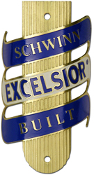 schwinn excelsior bike tube head badge