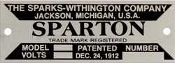 sparks withington spartan model number horn it plate aluminum