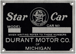 durant star car model car number plate aluminum