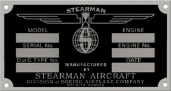 stearman aircraft airplane data plate aluminum stainless