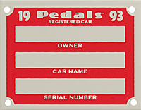 1993 pedals car plate pedal serial number