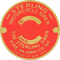 sterling motorcycle siren serial number plate brass