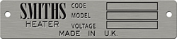smiths made in uk heater code model voltage data plate aluminum