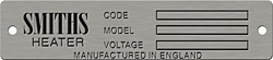 smiths manufactured in england heaater code model voltage data plate aluminum
