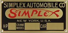 simplex automobile co hp car number plate brass