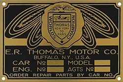 ER thomas motor car engine model number plate brass