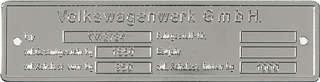 volkswagon german germany data plate tag