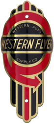 western auto flyer bike tube head badge barss