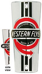 western auto flyer bike tube head badge