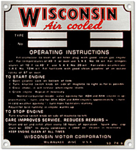 wisconson motor air cooled model serial number plate aluminum